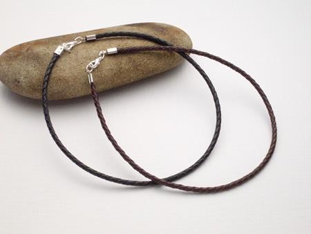 2 Stück geflochtenes ca. 3mm dickes Halsband aus Ziegenleder