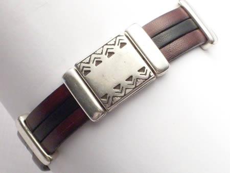 Edles Lederarmband mit Magnetverschluss, braun-schwarz, Inka