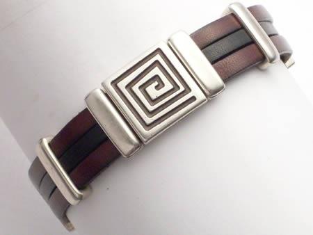 Edles Lederarmband mit Magnetverschluss, braun-schwarz, Meander