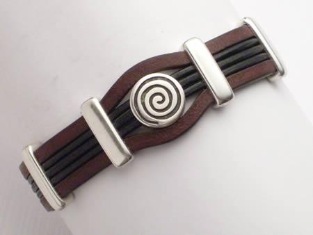 Edles Lederarmband mit Magnetverschluss, braun-schwarz, Spirale