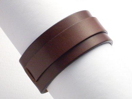 Lederarmband mit Riemen und Schnalle, 3 cm, dunkelbraun