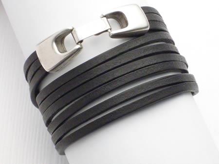 Wickelarmband 3-fach, Leder mit Klickverschluss, schwarz