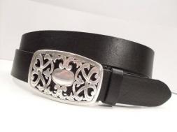 Jeansgürtel schwarz,mit Jugendstil-Schließe