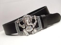 Schwarzer Ledergürtel mit Elefantengott Ganesha