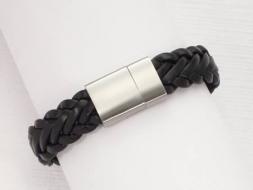 Lederarmband geflochten mit Magnetverschluss aus Edelstahl, schwarz