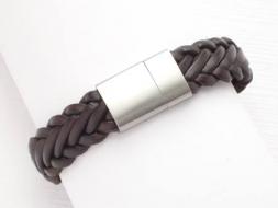 Lederarmband geflochten mit Magnetverschluss aus Edelstahl, dunkelbraun