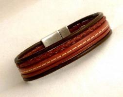 Armband in Wickeloptik, hellbraun