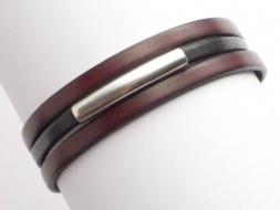 Schlichtes Lederarmband mit Magnetverschluss, braun-schwarz