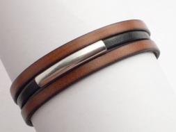 Schlichtes Lederarmband mit Magnetverschluss, hellbraun-schwarz