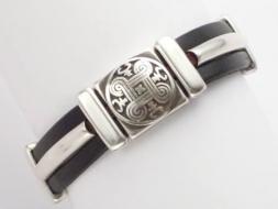 Edles Lederarmband mit Magnetverschluss, schwarz, Celtic