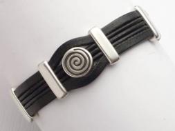 Edles Lederarmband mit Magnetverschluss, schwarz,