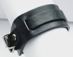 Lederarmband mit Riemen und Schnalle, 3 cm, schwarz