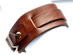 Lederarmband mit Riemen und Schnalle, 3 cm, hellbraun