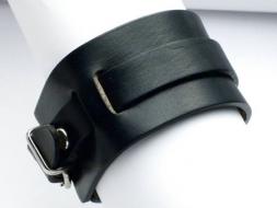 Lederarmband mit Riemen und Schnalle, 4 cm, schwarz