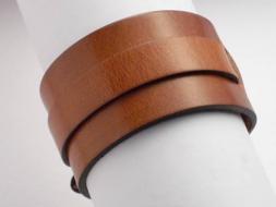 Lederarmband mit Riemen und Schnalle, 4 cm, hellbraun