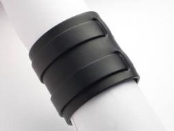 Lederarmband mit 2 Riemen und Schnalle, 6 cm, schwarz