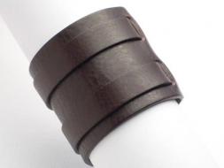 Lederarmband mit 2 Riemen und Schnalle, 6 cm, dunkelbraun