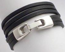 Wickelarmband 2-fach, Leder mit Klickverschluss, schwarz