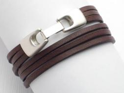 Wickelarmband 2-fach, Leder mit Klickverschluss, braun