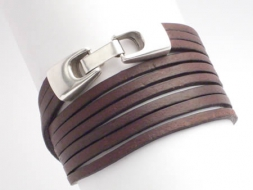 Wickelarmband 3-fach, Leder mit Klickverschluss, braun