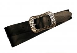 Jeansgürtel für Damen in schwarz mit Vollschnalle