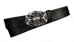 Damengürtel in schwarz mit Zierschnalle